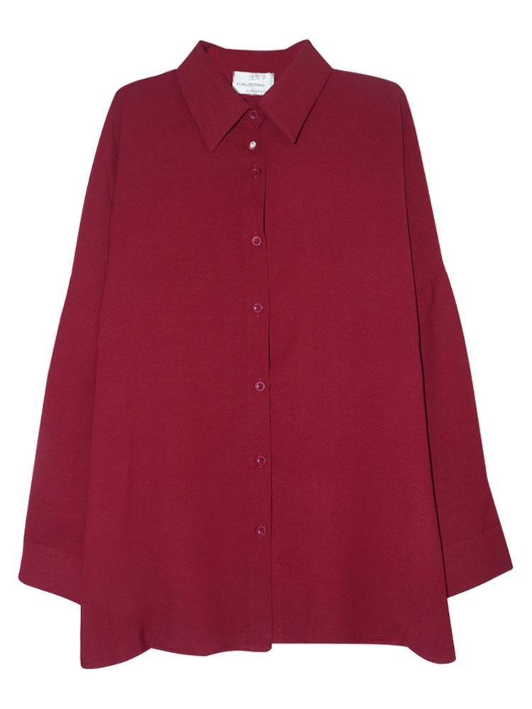 Женская блузка Винтаж Гонконг вкуса Свободный поворотный воротник Шифон рубашка куртка с длинным рукавом темперамент чистый цвет