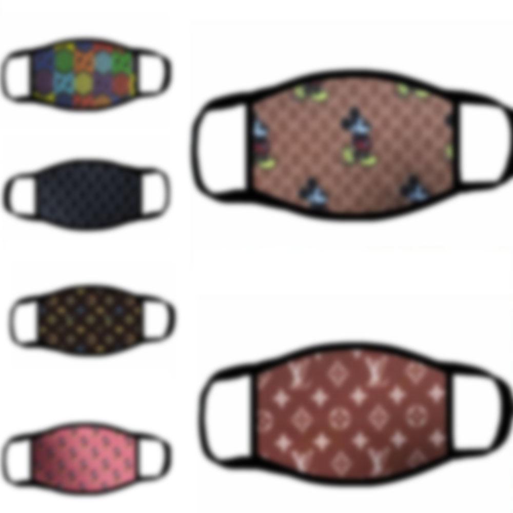 50 stili DHL libero Logo Desinger maschere uomini donne in cotone lavabile traspirante maschera di design di lusso alla moda stampare le maschere anti-polvere riutilizzabili