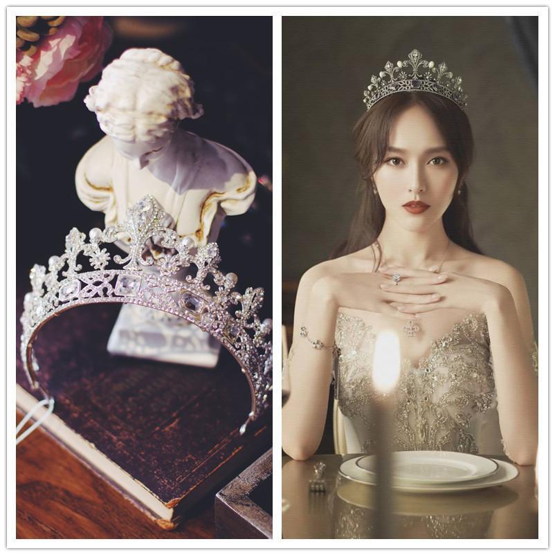 style européen grande cérémonie coiffure rouge net mariage de 18 ans Xianmei mariée Tang Yan même fille couronne
