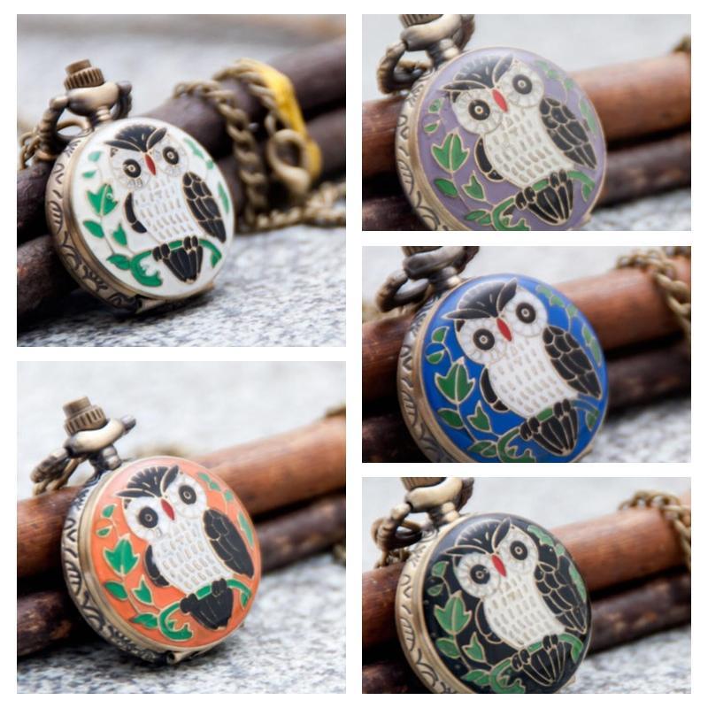 5 Modell Kinder Geschenk Quarzkleber Eule Taschenuhr Halskette Vintage Schmuck Großhandel Koreanische Pulloverkette Europa und die hängende Uhr
