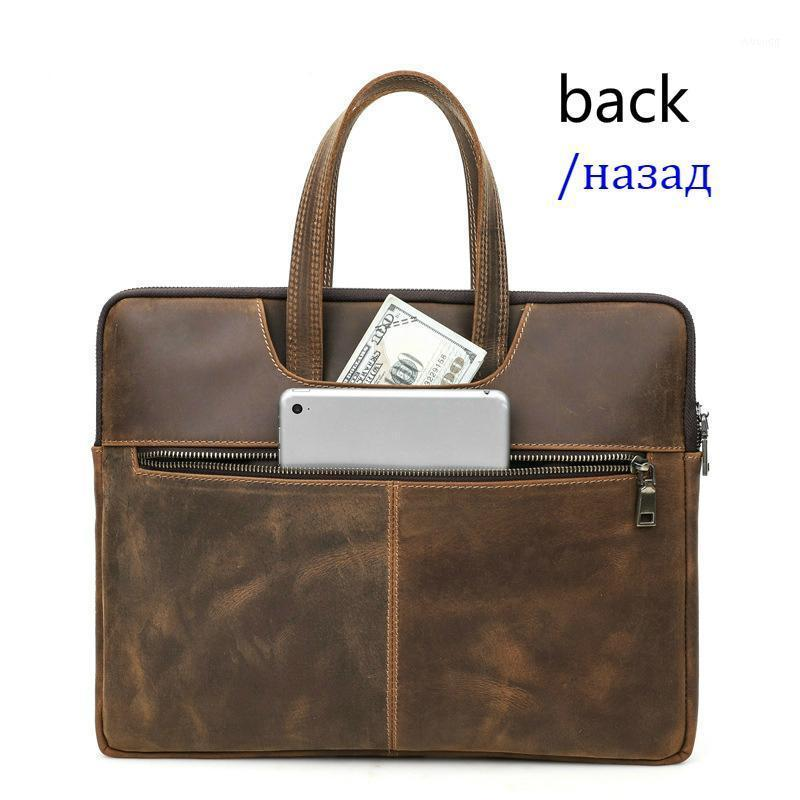 Maschio business documento sacchetto per 14 15 16 pollici Borse in vera pelle in vera pelle Nuove valigetta da uomo Crazy Horse in pelle da uomo Borsa