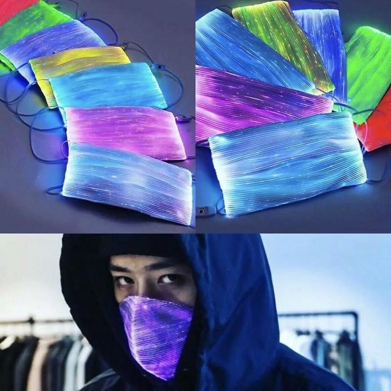 7 Farbe LED Fasermaske RGB-Licht mit PM2.5 Filter Pad Carnival Masquerade Party Gesichtsmaske LED Faseroptikmaske