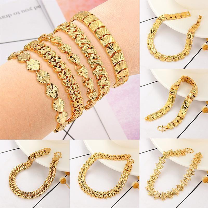 Multi-style Mens Bracelet Chain Polished Copper Gold Chains Bracelet For Men Women Cuban Link Bracelet&Bangle Jewelry Gifts1