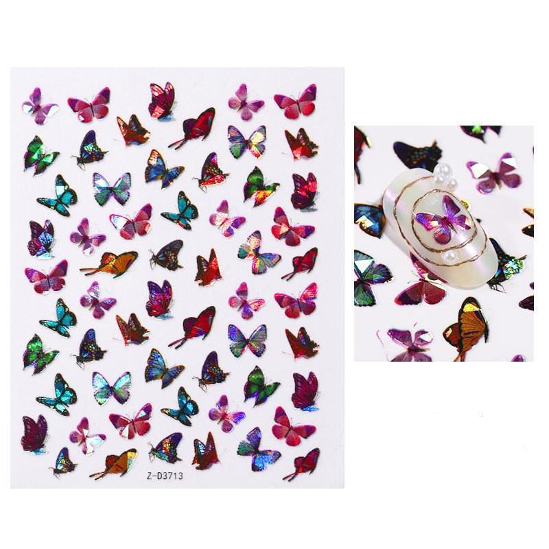 Moda gradiente pegatina de uñas 3D láser diseño multi mariposa tipo de mariposa manicura clavos etiquetas señales salón fiesta decoración 1 3CD L2
