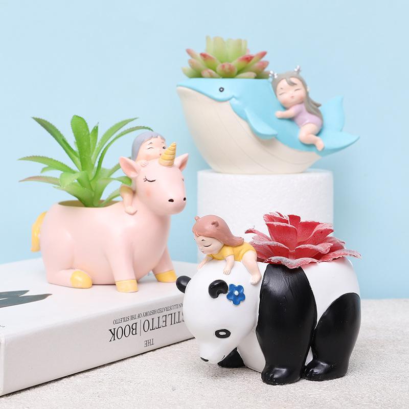 Hada del jardín Maceta resina niñas animales Planter Pot Mini planta suculenta Pot decoración del hogar de la ballena unicornio Figurita Y200709