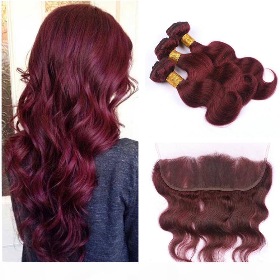 99J Burgundy Frontal Lace Closure with Bundles Wine Red Body Wave Hair Weaves with Frontal Dark Red Brazilian Human Hair Bundle Deals