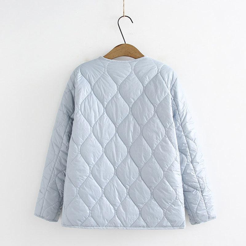 Abrigos de invierno para mujeres Single Breasted Funda completa Thin Thread Parka Parka de gran tamaño Down Cotton Jacket 201105