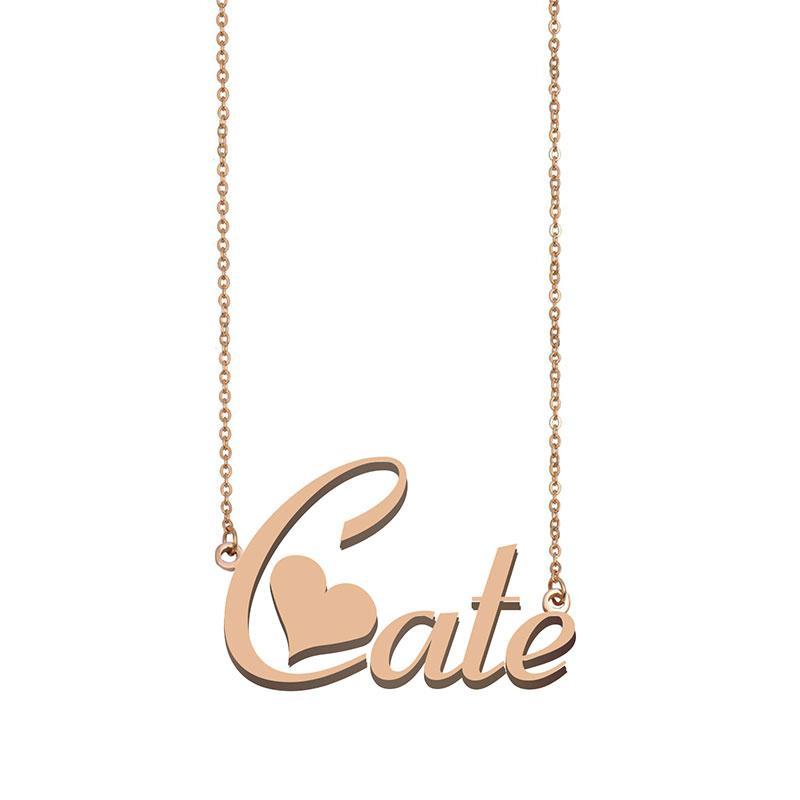 Cate Custom Name Halskette Personalisieren Anhänger für Männer Jungen Geburtstags-Geschenk Beste-Freunde-Schmucksachen 18k Gold überzogener Edelstahl