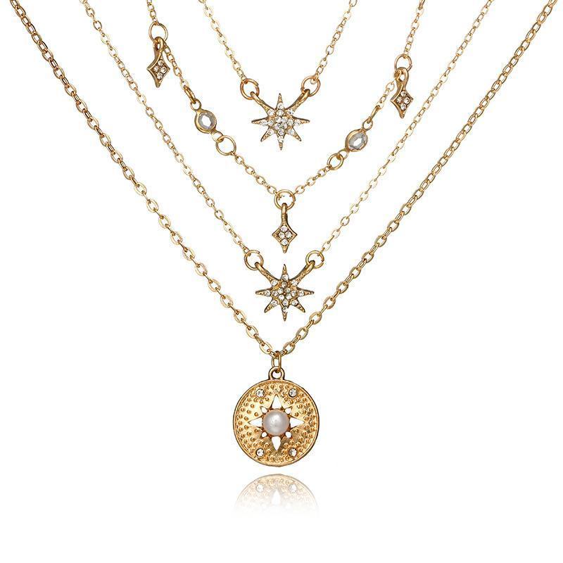 Oro Multii-Capa Collares Gargantilla hexagrama colgante Cadenas joyas de moda Chockers Accesorios