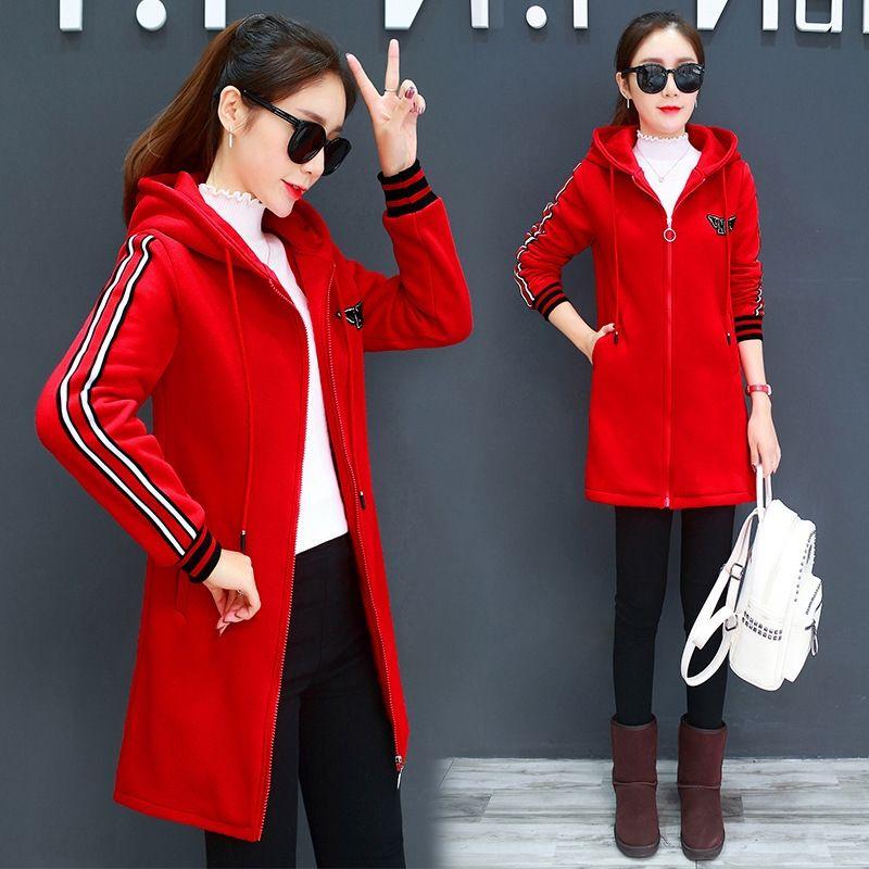 Otoño e invierno nueva longitud mediados de felpa y flojo coreano con capucha chaqueta de punto Escudo sweatersweater sw ocasional de las mujeres de la capa engrosada
