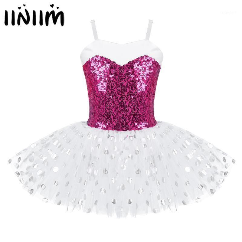 Iiniim Kids Girl Ballet платье блестки спагетти плечевые ремни балерина танцевальный костюм гимнастика леотард сетки тюль TUTU Dress1