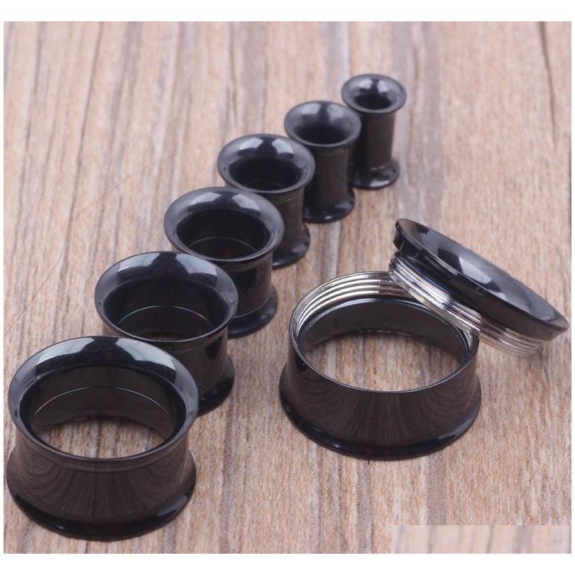 Mezclar 5-20mm 36 unids de acero inoxidable negro interno roscado doble flare Tunnel Tunnel Piercing cuerpo joyería MHXBD