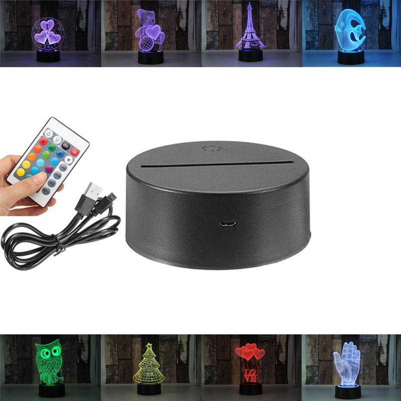 Dropship RGB-Leuchten LED-Lampenbasis für 3D-Illusionslampe 4mm-Acryl-Lichtpanel AA-Batterie oder DC 5V USB-3D-Nächte