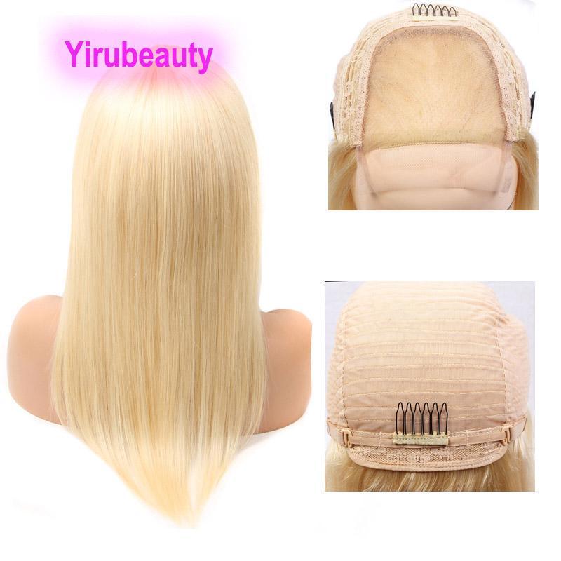 Péruvien 613 # Couleur 4 * 4 Perruque Silky Sight Body Wave 12-32inch 100% Virgin Human Cheveux Produits à quatre par quatre perruques Blonde