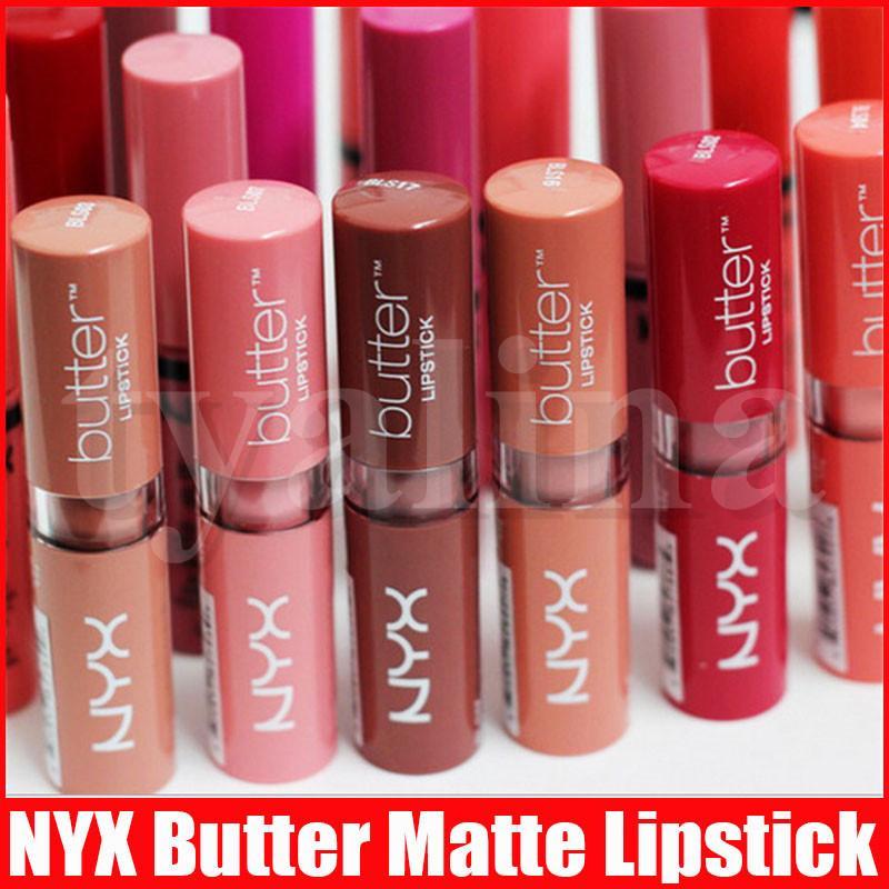 NYX mantequilla lápiz labial 12 colores Batom Mate impermeable de larga duración del maquillaje del lápiz labial nyx Tinte Brillo de labios Palo Marca Maquillaje