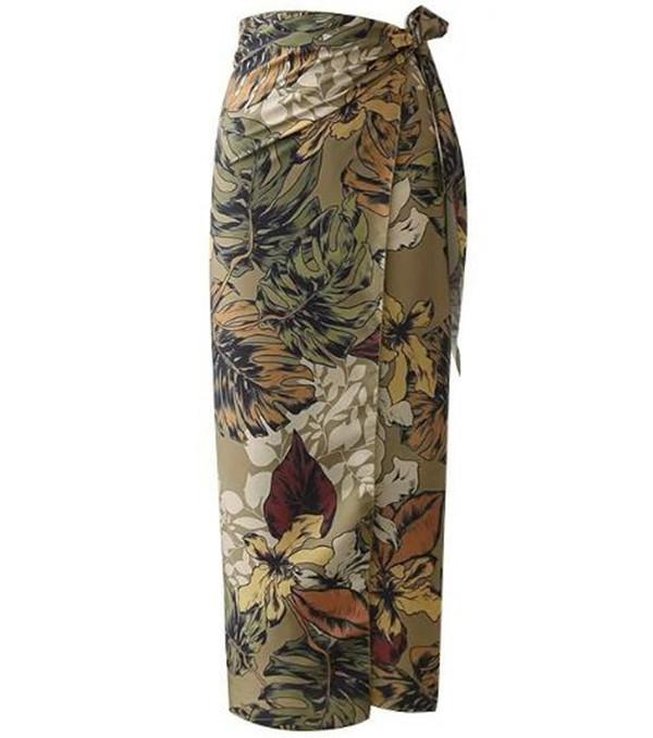 Female print dress, tight skirt, high waist tie skirts,holiday style, fashion, simple, casual