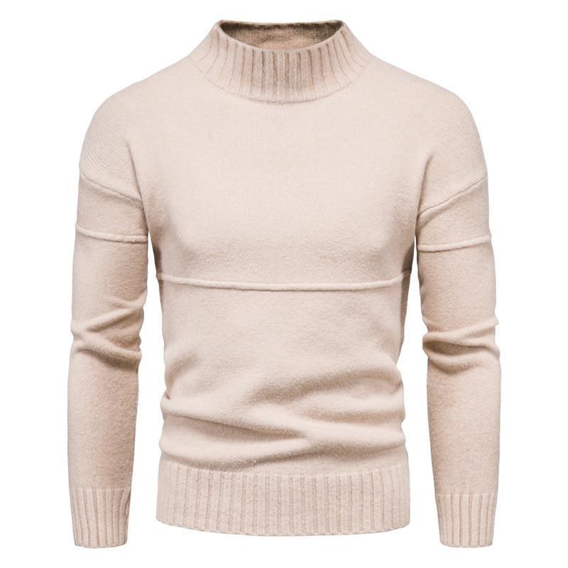 Mens Slim Fit водолазку вскользь кашемира трикотажные пуловер Свитера Мужчины Сплошной цвет Бизнес Повседневный Трикотаж мужской одежды