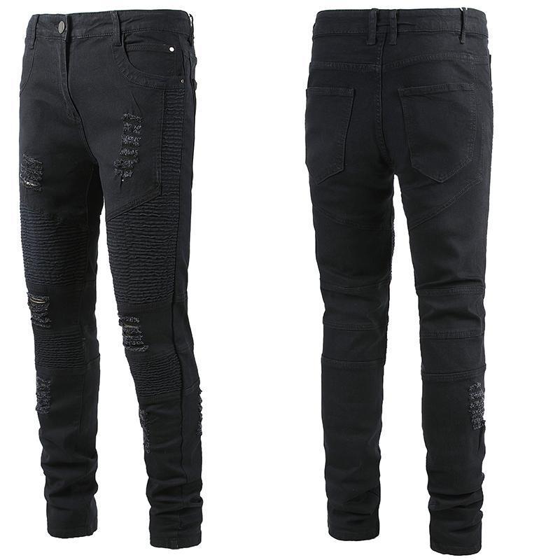 الرجال الجينز الأسود مستقيم الساق زائد حجم الرجال تصميم العلامة التجارية ضئيلة صالح جان