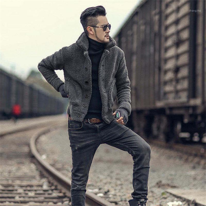 2020 autumn and winter new men's grain velvet jacket casual short plus velvet warm coat fashionable men's clothing1