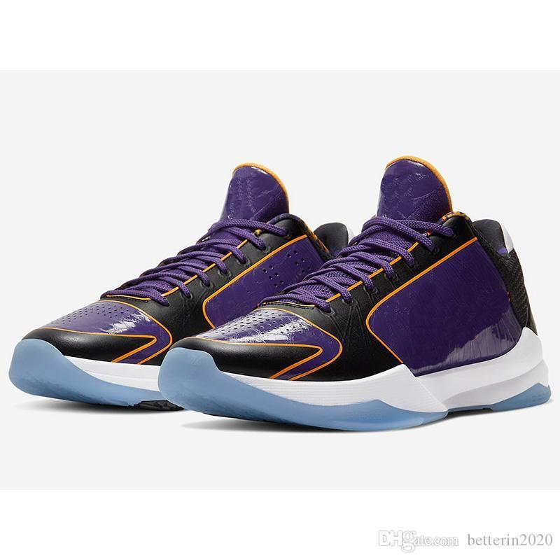 Qualità Mamba Zoom 5 Protro Chaos Mens Scarpe da basket 5s V Lakers Dark Knight Purple de Black Prelude Anelli Designer Sport TRA