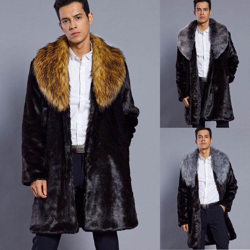 Pele Faux Long Jacket Europeu Tamanho Europeu 2020 Homens Pele de Imitação Longa Casaco de Couro Grosso Big Collar Casaco masculino