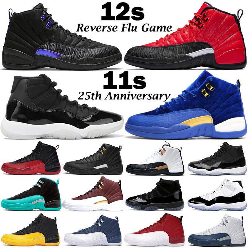 2020 Neue Basketball-Schuhe Herren-Trainer Jumpman 11 11s 25th Anniversary 12 12s Dunkel Concord Indigo Reverse-Flu Spiel Retros Sport-Turnschuhe