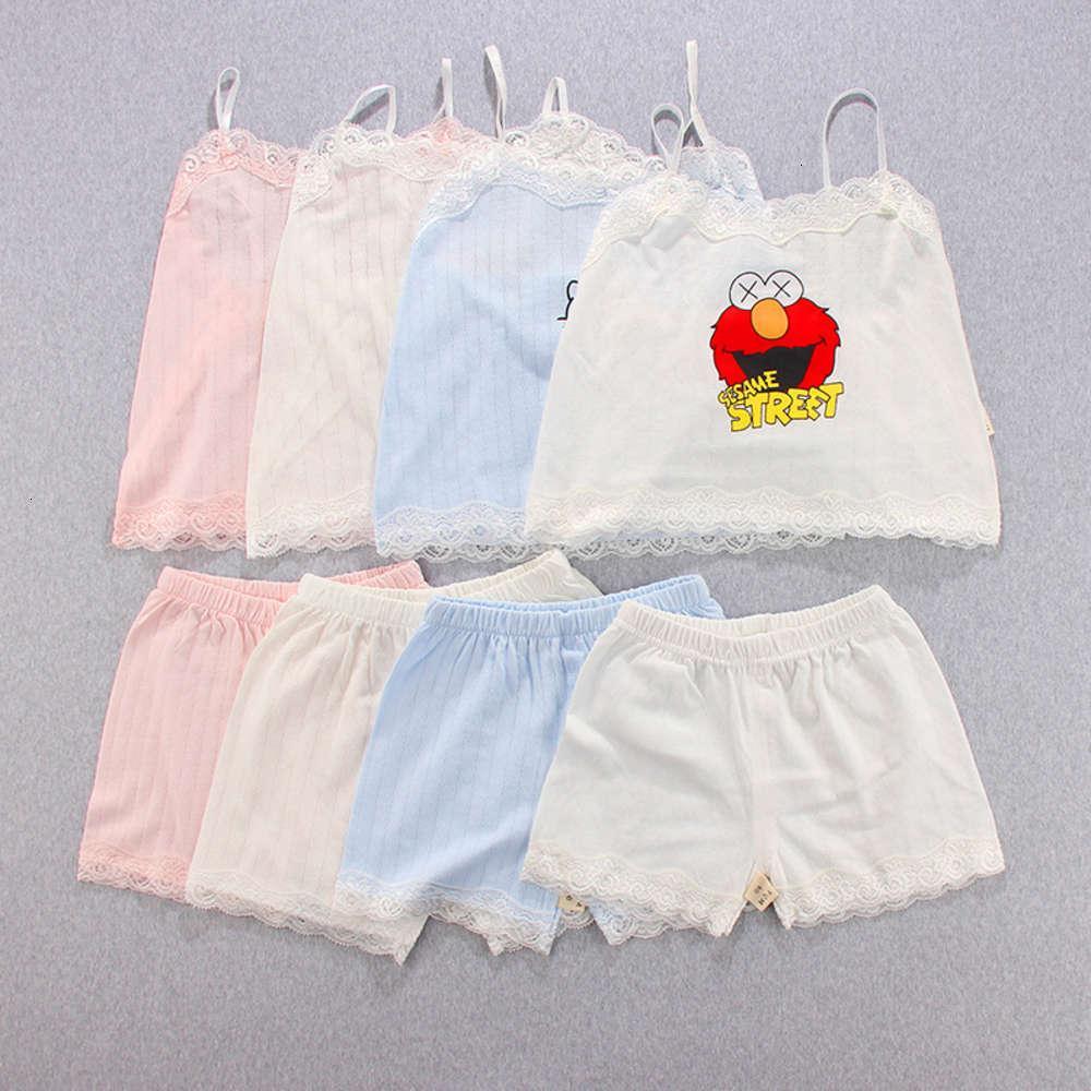 Детский чистый 2020 Домашнее лето Новое дыхание хлопчатобумажные кружевные подвеска Pajamas костюм кондиционер ткань