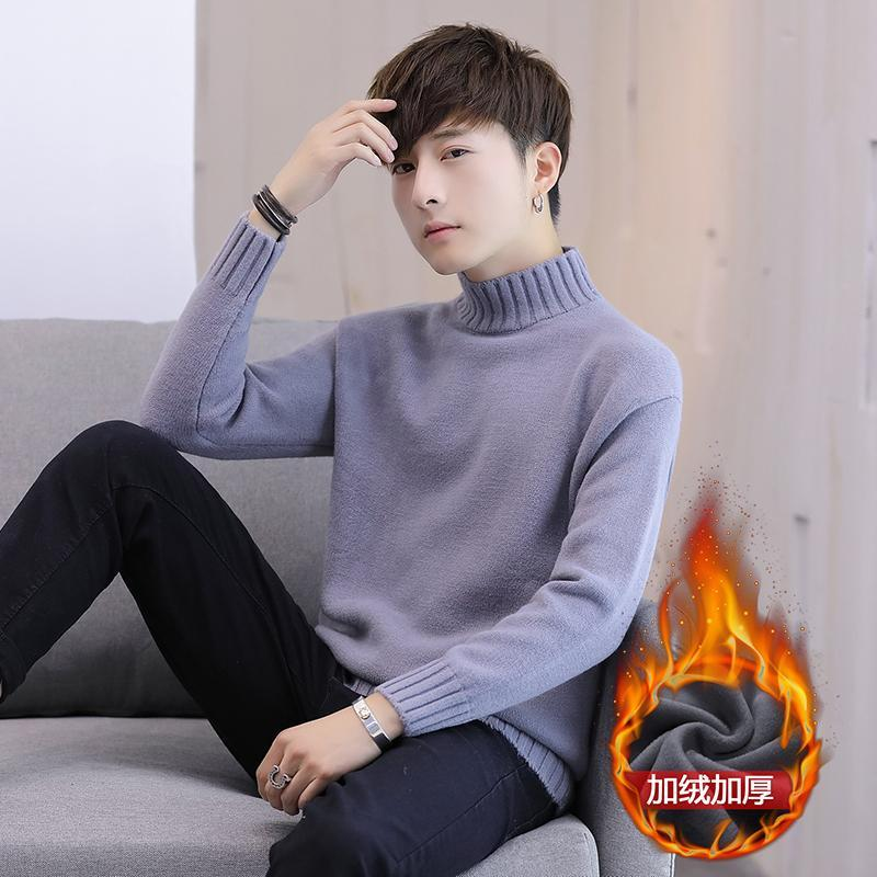 2021 Novo Outono e Inverno Men's Turtleneck Sweater Coreano Slim Fit Colorido Sólido Pulôver com Cashmere Plush Sweater
