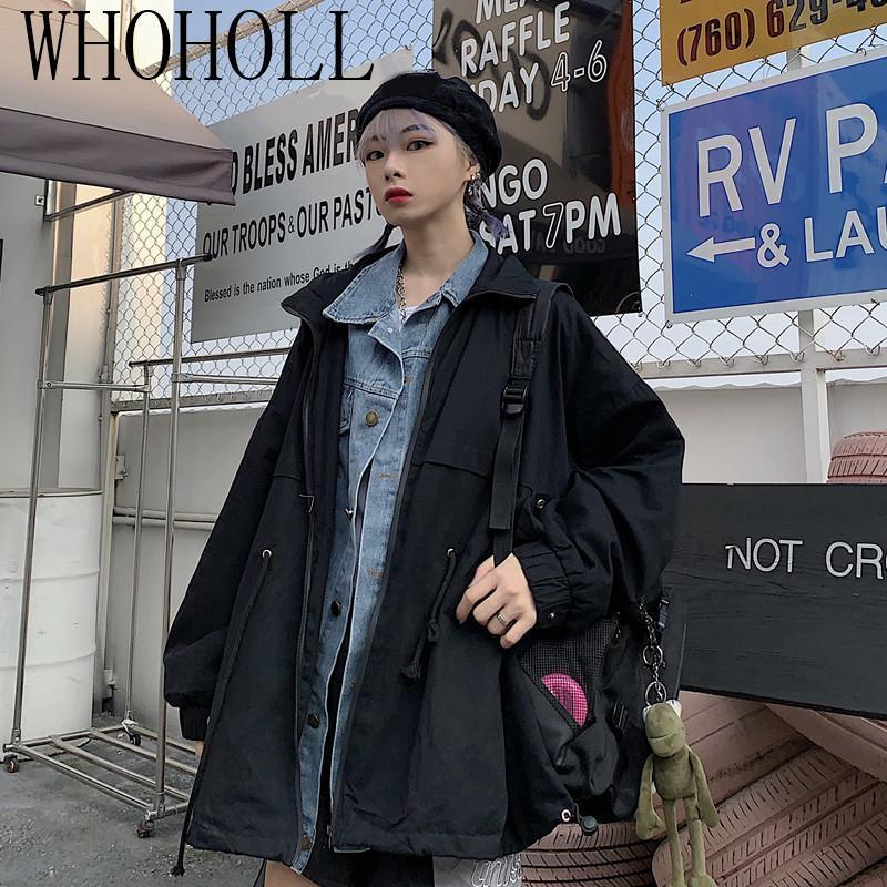 HARAJUKU Weins Wear Autumn Ins Slosed Medio Lunghezza Amanti 'Falso Due pezzi di Dark Denim Splicing Coat Moda