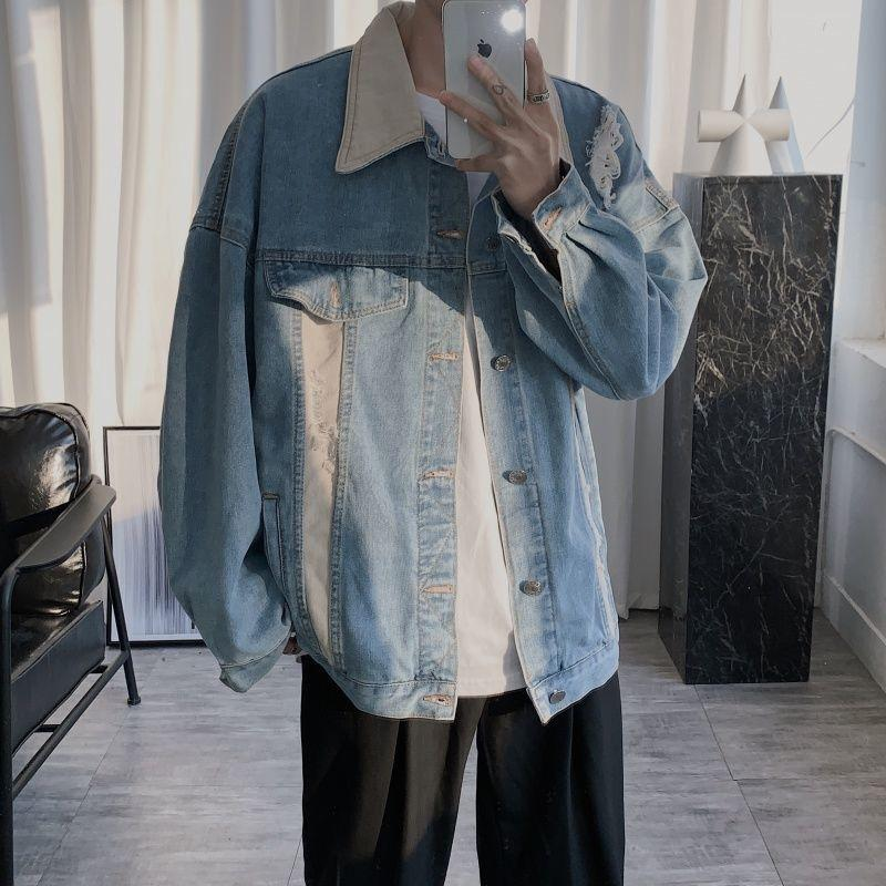 2020 Корейский стиль мужская мода Trend Bomer джинсовая куртка свободный синий цвет верхняя одежда высококачественный ослабесный воротник размером M-2XL