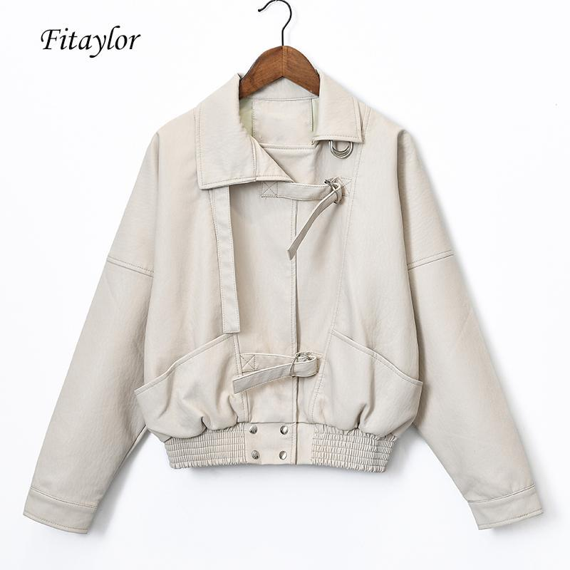 Fitaylor Primavera Mulheres Punk Vintage Leather Jacket Batwing luva Magro PU de couro falso Coats Bombardeiro BF jaquetas curtas básicas