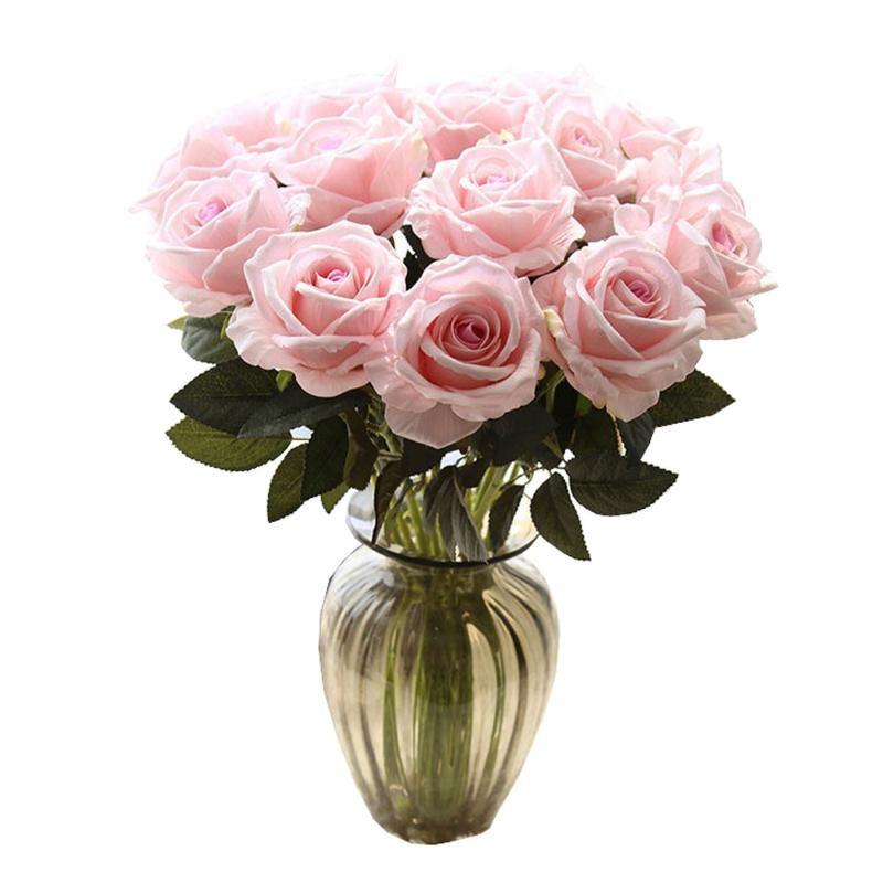 11pcs Soie artificielle Roses Fleurs Touches Real Touch Simple Head Mariée Holding Fake Rose Bouquet pour Maison De Noël Mariage Décoratif