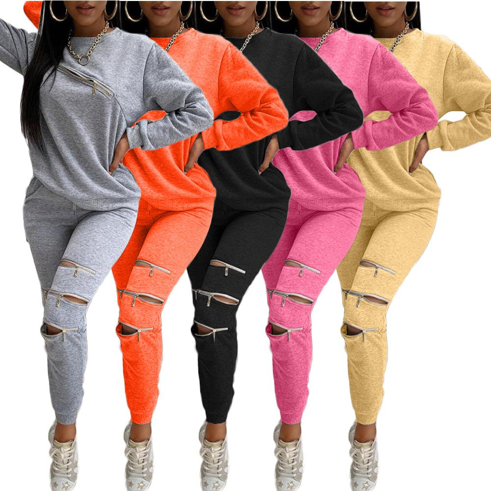 Grey Negras Designer Treino Irregular Zipper Hoodie Tops + Pants Mulheres Two Piece Outfits Gradiente Jogging Suit Sportswear Tamanho S-2XL