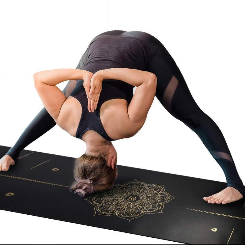Maty jogi 6ft PU Gumowa mata Ćwiczenie Sporty i fitness Zagęszczone 183 * 68 cm Brązowanie z Postelem Pilates