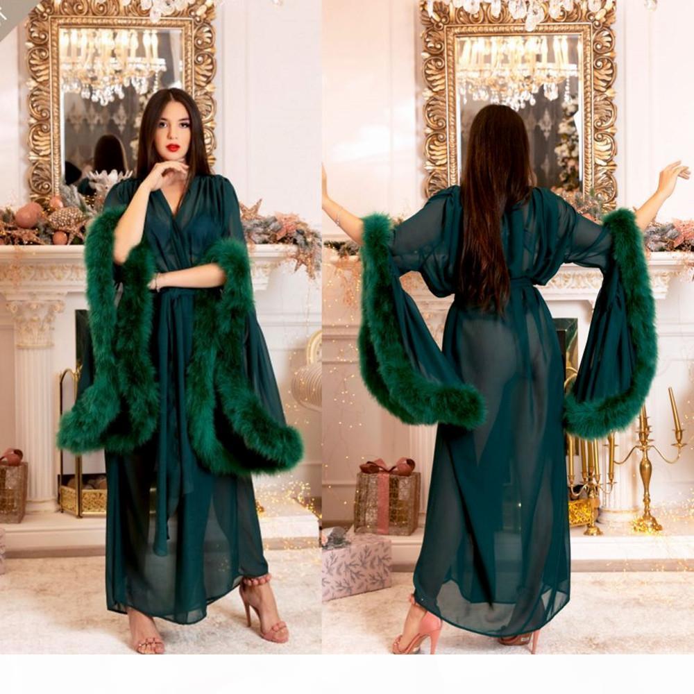 Womens Wraps Sexy Faux Fur Senhora Sleepwear Mulheres Inverno Bathrobe Roupeiro Verde Camisola Comprimento Do Assoalho Robe Drawsmaid Shawl