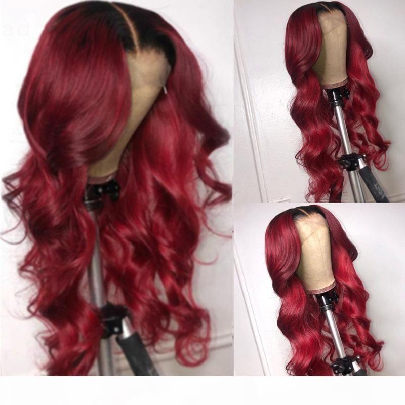 1BT99J Encaje Frontal Wig Virgin Brasileño Ombre Human Hair Peluca Sin Glueless 13x6 Peluca de encaje con cabello para bebés Peleas naturales para mujeres negras