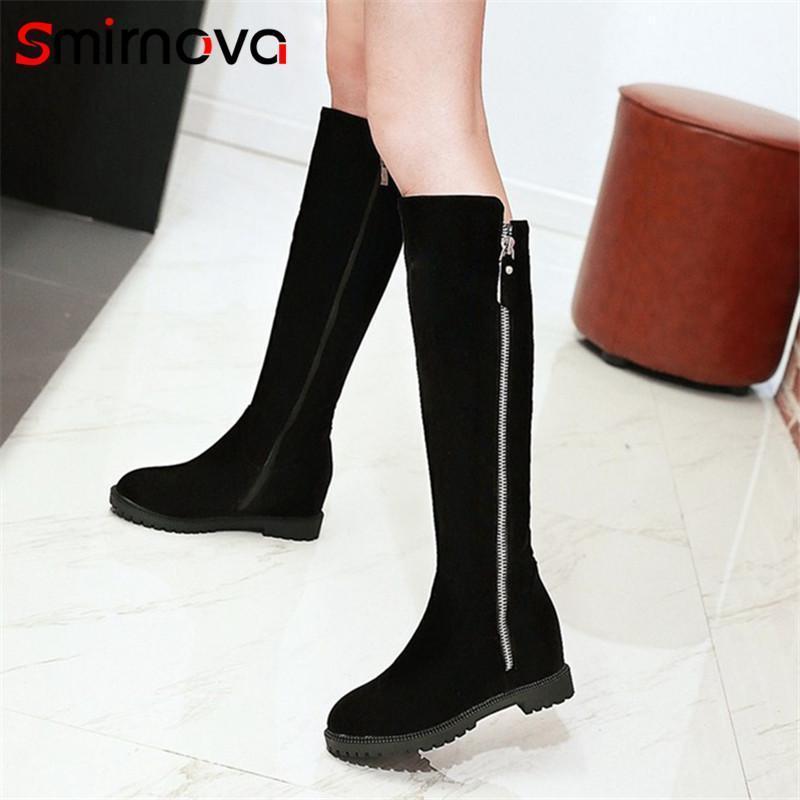 Smirnova Platform Boots Fashion 2020 Осень зима колена высокая ботинка классическая молния женщина MED пятки Большой размер обувь дама1