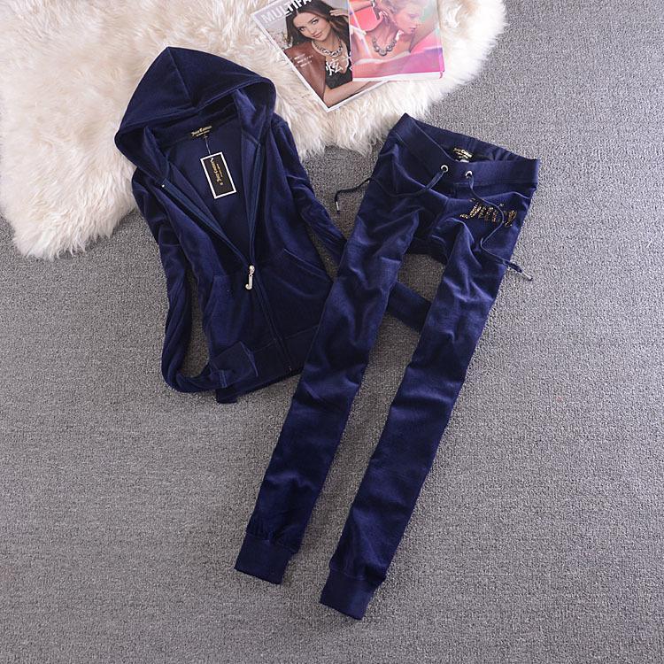 Бархатный трексуит из двух частей набор женщин-трексея сексуальный с капюшоном с длинным рукавом с капюшоном и брюки из брюки