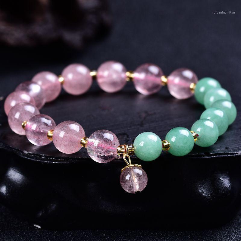 Charme Armbänder Naturstein Erdbeer Kristall Grün Aventurin Armband Runde Perlen Energie Geschenk für ihr Yoga Mala Armbänder1