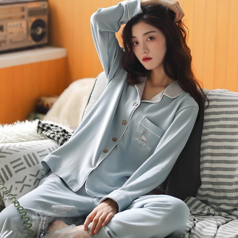 Schnelles Verschiffen Baumwolle Frauen Pyjamas Set Herbst Winter Pyjamas Cartoon Sleepwear Sexy Home Kleidung Für Frauen Wäsche