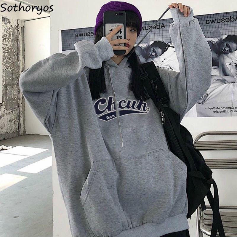 Sweats à capuche à capuche Les femmes lâches adolescents Harajuku imprimés plus velours épais surdimensionné BF All-match branché femme sweat à capuche coréenne neuf y200917