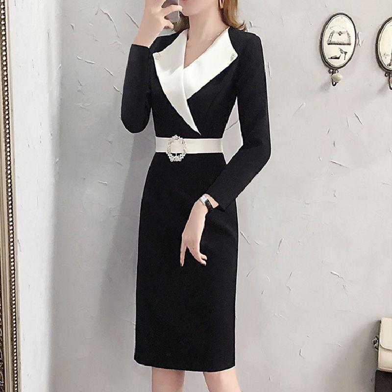 Профессиональные платья весна 2020 новая женская одежда темперамент тонкая талия сумка бедра юбка черные длинные-и-длинные рукава