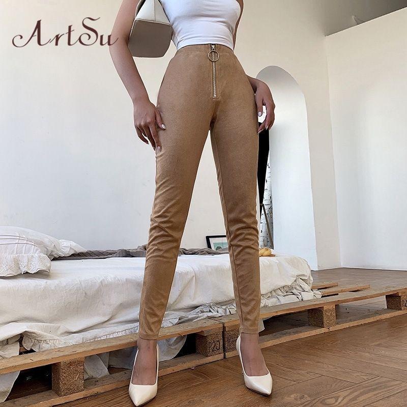 Artsu Faux Suede Pu pantalon de crayon en cuir kaki noir taille haute Leggings stretch Skinny Pantalons pour femmes 2020 Vêtements Aspa70102