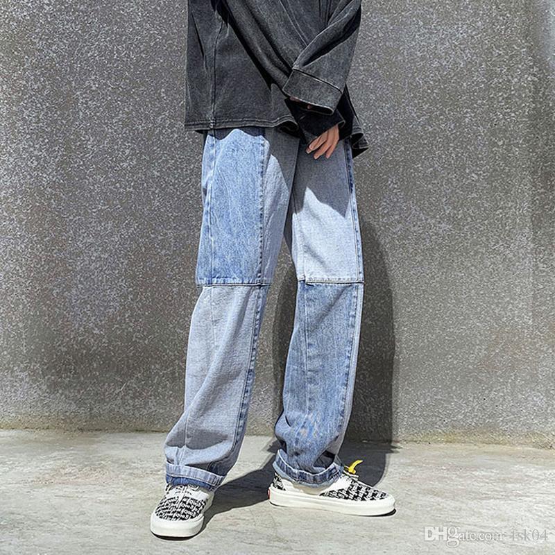 3XL plus Größe Gewaschene Jahrgang Mens Wide Leg Jeans Street beiläufige gerade Stil lange Denim Jean Homme 2020 Patchwork Jeans