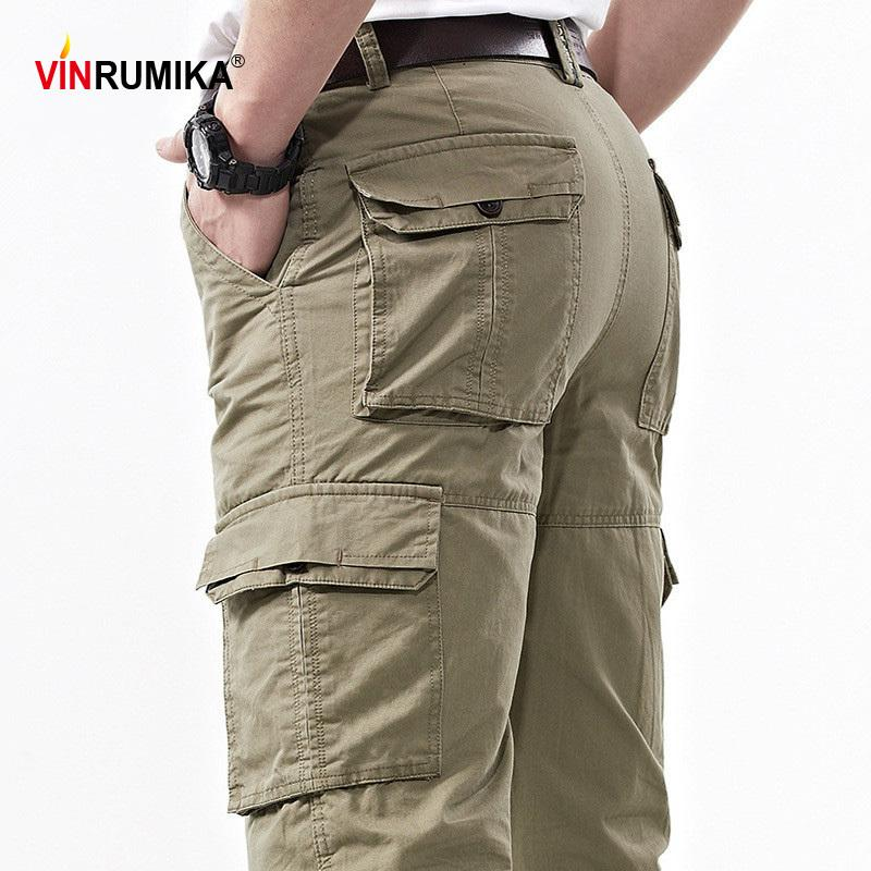 2020 Men's Summer 100% Cotton Multi-pocket Overalls Pants Man Spring Autumn Army Green Casual Cargo Pant Black blue Long Trouser LJ201007