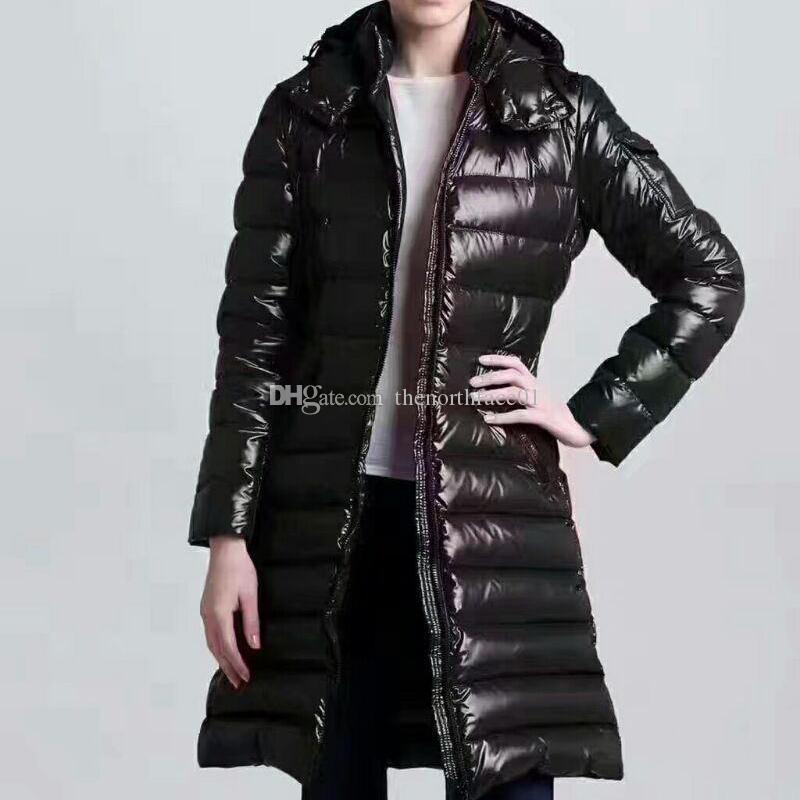 Womens Down Jacket Giacca parka di modo delle donne inverno cappotto di pelliccia Doudoune Femme Black Winter Coat Outerwear con cappuccio