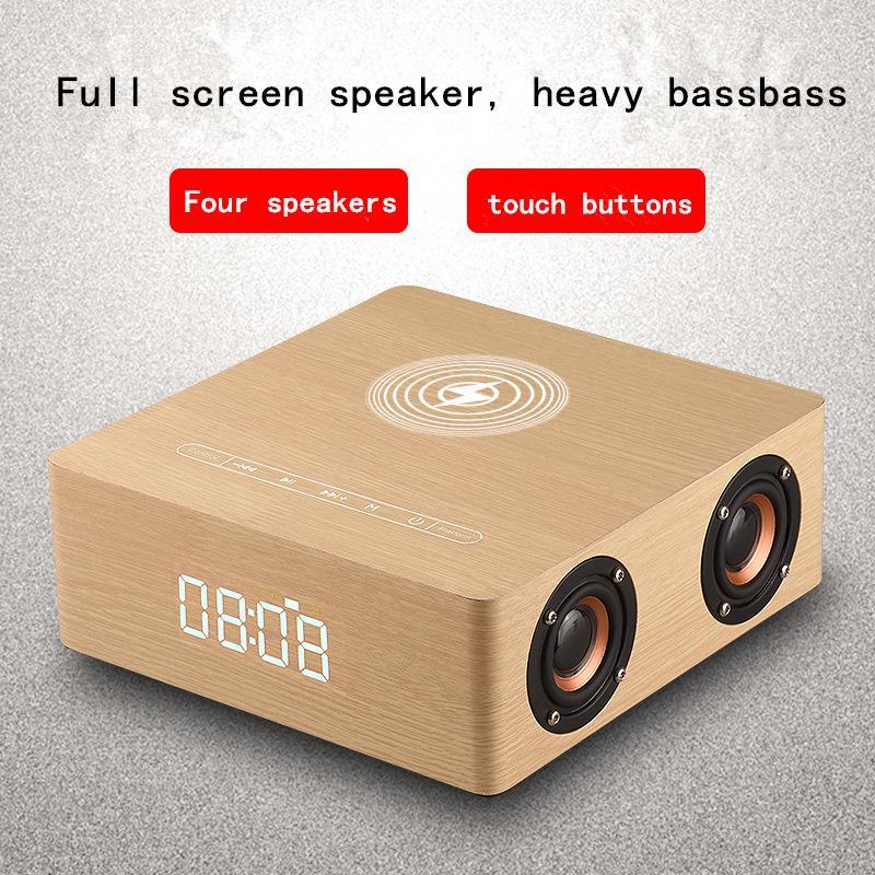 Q5a rétro bois multifonctionnel Bluetooth Haut-parleur Réveil Horloge de chargeur sans fil Colonne Subwoofer Centre de musique Sound Sound Aux TF