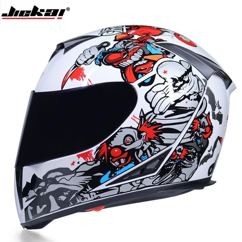 Jiekai Nokta Onaylı Tam Yüz Motosiklet Kask Çifte Lens Ile Yıkanabilir Astar Hızlı Yayın Yarışı Kask Casco Casque Moto
