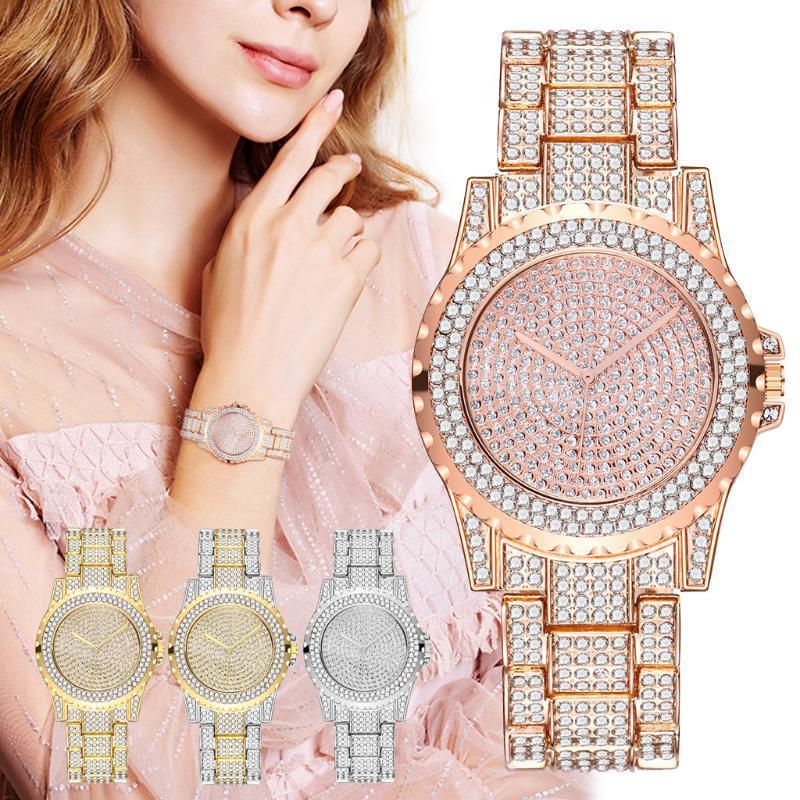 2020 Venta caliente Mujeres Relojes de pulsera de diamantes completos Damas casuales Reloj de recinto de cuarzo de acero inoxidable Reloj de regalo