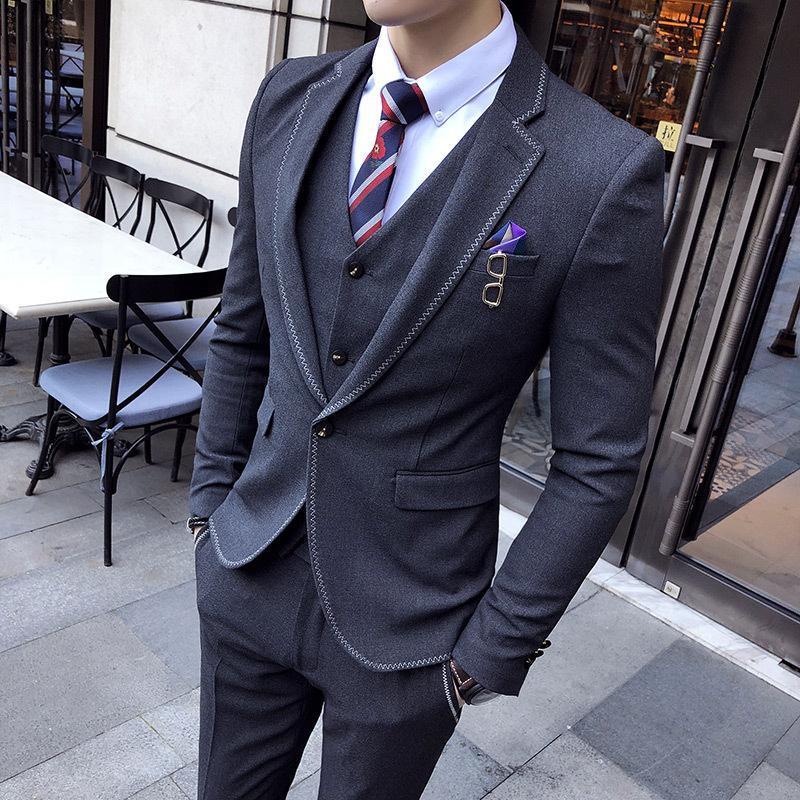 Trajes de hombre Blazers Primavera y otoño Masculino Estilo británico Hombres 'Traje de 3 piezas con un botón Blazer Set Business Chaqueta de boda Chaleco Pantalones